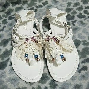 white fringe sandals NWT